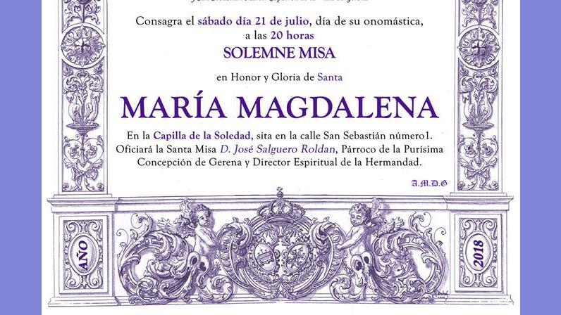 Santa Misa a Maria Magdalena 2018